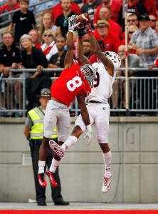 Ohio State Buckeyes cornerback Gareon Conley (8) tips the ball away from Northern Illinois Huskies wide receiver Kenny Golladay (19) during the fourth quarter of the NCAA football game at Ohio Stadium in Columbus on Sept. 19, 2015.