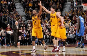 Tristan Thompson (left) and Kevon Love combined for 20 points and 25 rebounds in the Cavs' 104-79 win over Orlando.