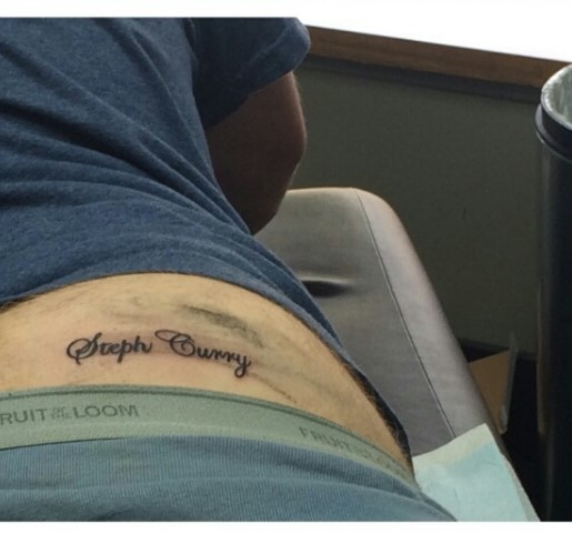 Cavs fan gets steph curry tattoo on his butt to celebrate for Steph curry new tattoo