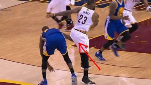 Draymond Green hits LeBron James in the groin during Game Four of the NBA Finals.