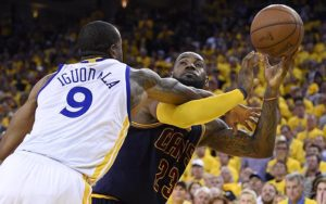 Andre Igoudala hammers LeBron James in the NBA Finals...no foul was called on the play.