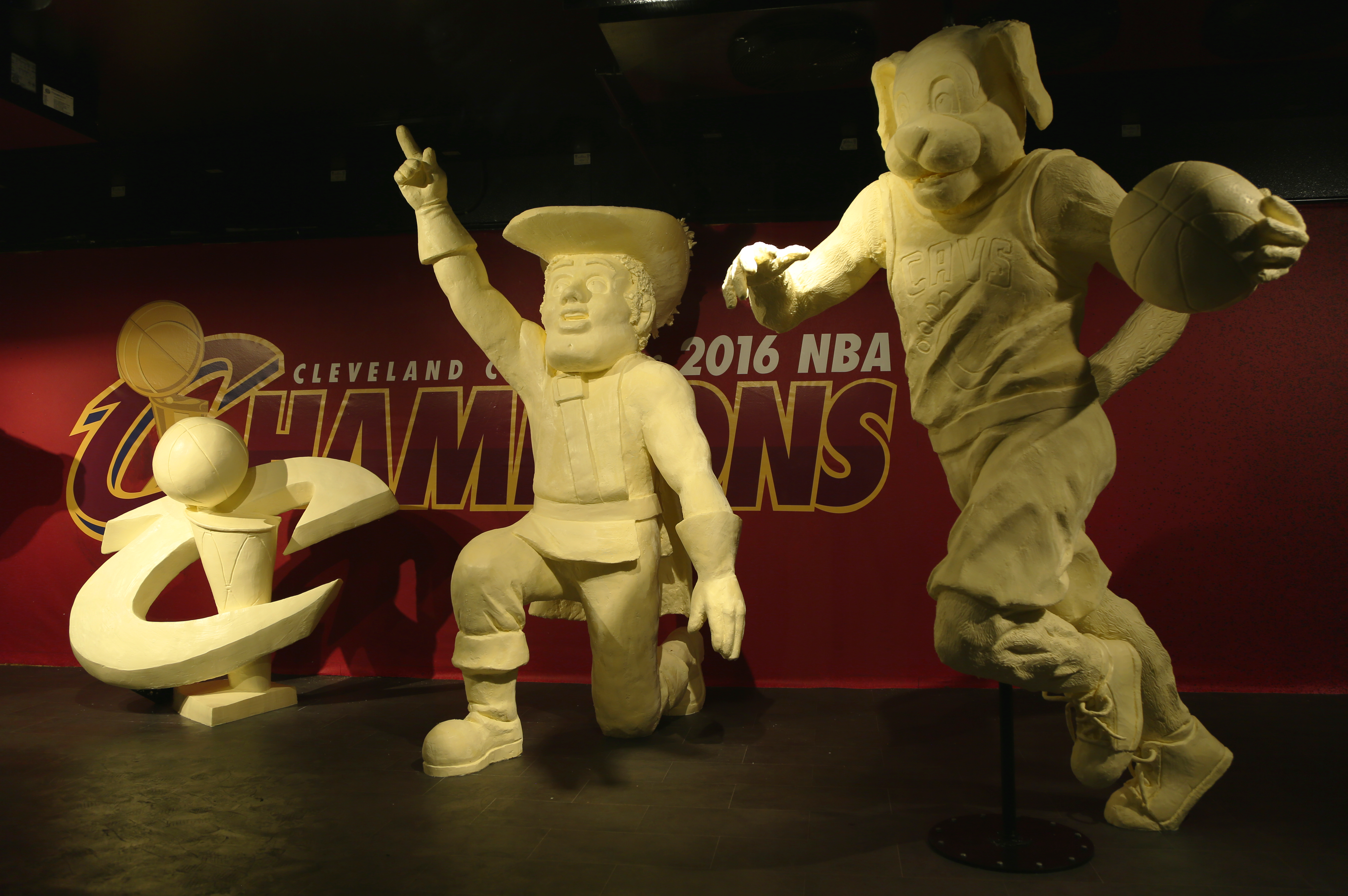 At this year`s Ohio State Fair, the American Dairy Association Mideast pays tribute to the 2016 Cleveland Cavaliers. In June, the team rallied from a 3-1 deficit to win the NBA championship.