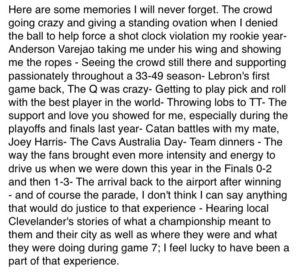 Delly Writes GoodbyeThank You Letter to Cleveland
