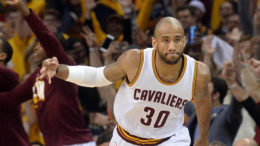May 4, 2016; Cleveland, OH, USA; Cleveland Cavaliers guard Dahntay Jones (30) reacts after hitting a record breaking three-pointer during the fourth quarter against the Atlanta Hawks in game two of the second round of the NBA Playoffs at Quicken Loans Arena. The Cavs won 123-98. Mandatory Credit: Ken Blaze-USA TODAY Sports