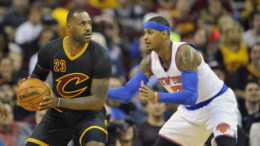 Nov 4, 2015; Cleveland, OH, USA; Cleveland Cavaliers forward LeBron James (23) dribbles against New York Knicks forward Carmelo Anthony (7) in the first quarter at Quicken Loans Arena. Mandatory Credit: David Richard-USA TODAY Sports ORG XMIT: USATSI-231420 ORIG FILE ID:  20151104_ajw_ar7_020.jpg