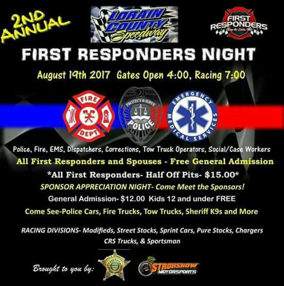 First Responders Night Set For Lorain County Speedway