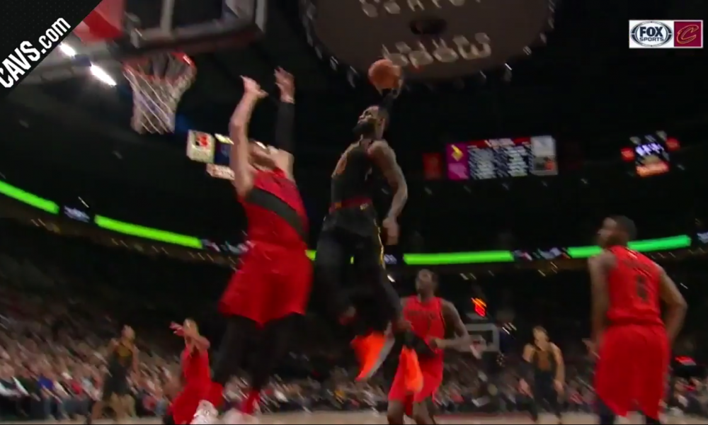 5ae2fa908c9 WATCH  LeBron James throws down rim-rattling dunk over Jusuf Nurkic
