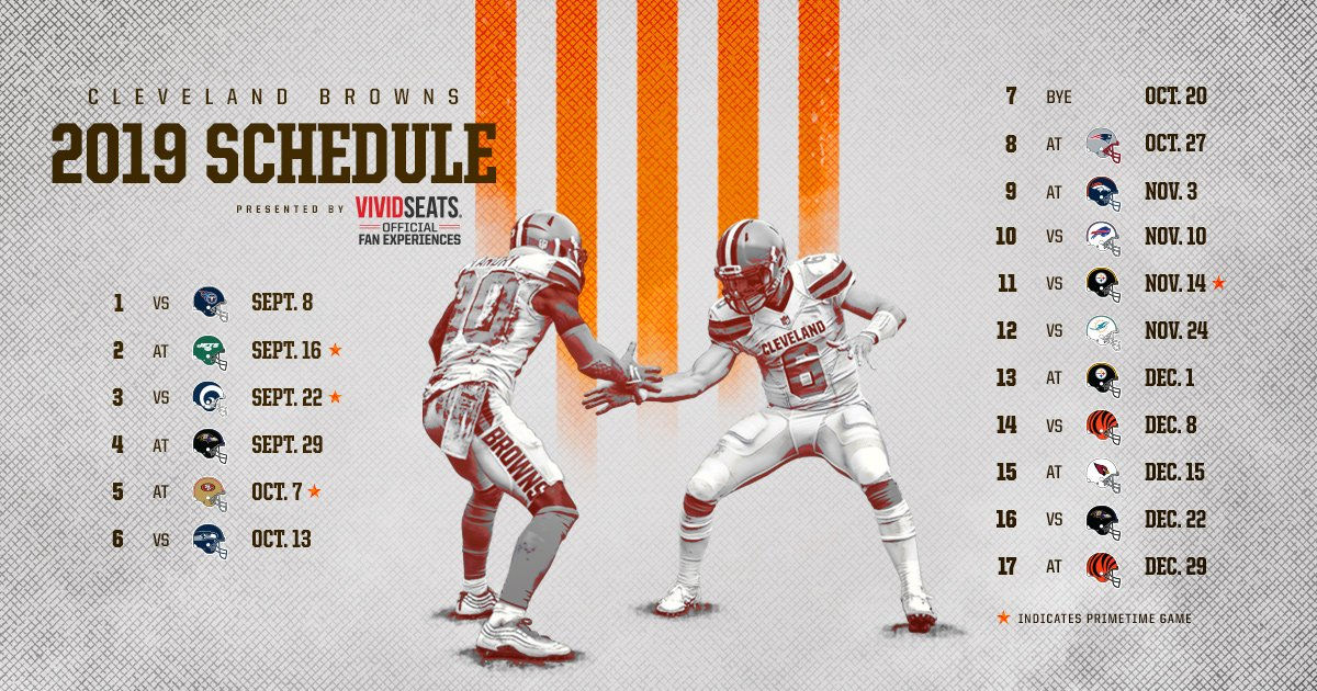 Cleveland Browns 2019 Schedule The Browns 2019 Schedule is here